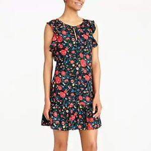 J. Crew Floral Flutter Sleeve Ruffle Hem Dress